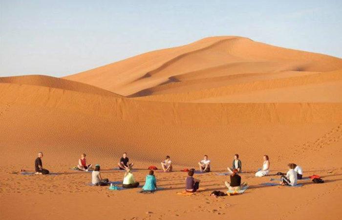 Yoga Merzouga Desert Morocco Iktichaf Travel